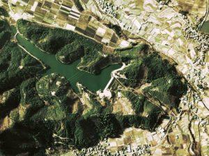 沓沢湖の上空写真