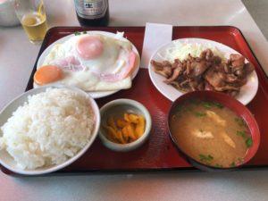 「焼肉定食」+「ハムエッグ(単品)」