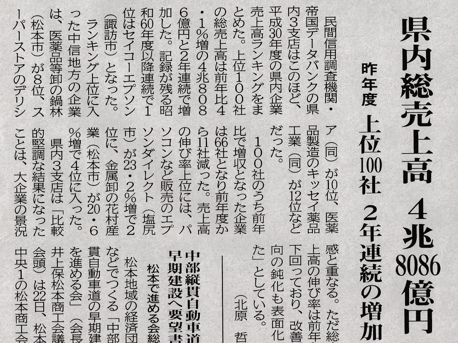 長野県内企業の売上高ランキング2019