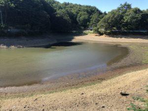 わずかな水しか残っていない小坂田池